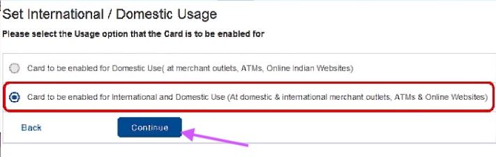 enable international usage in hdfc debit card