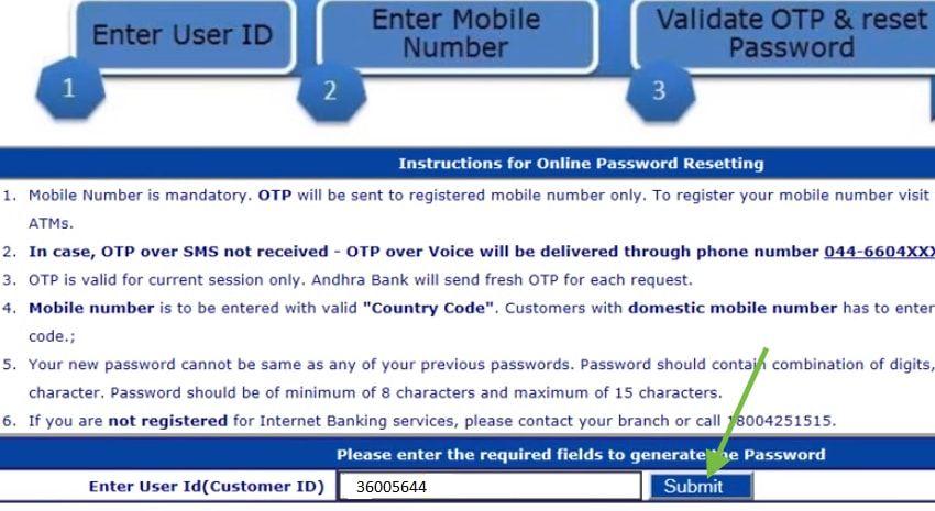 enter customer id Andhra bank