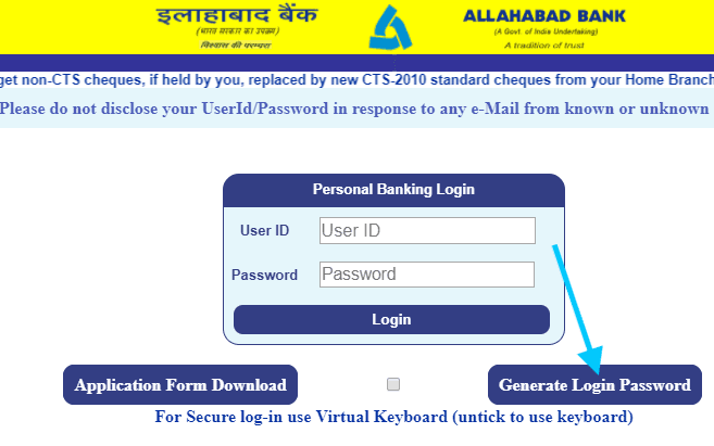 generate login password allahabad net banking