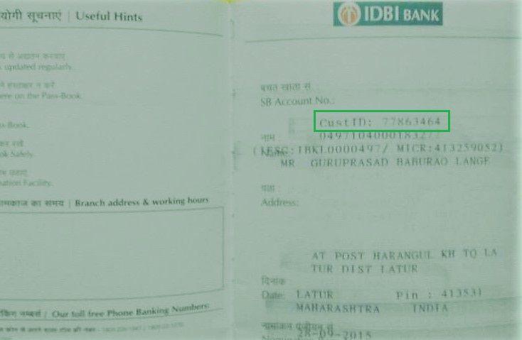get customer id in idbi passbook
