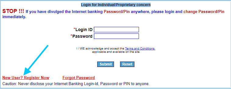 new user register iob net banking