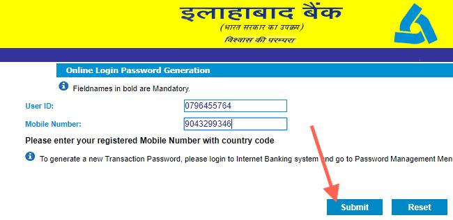online login password generation alllahabad net banking