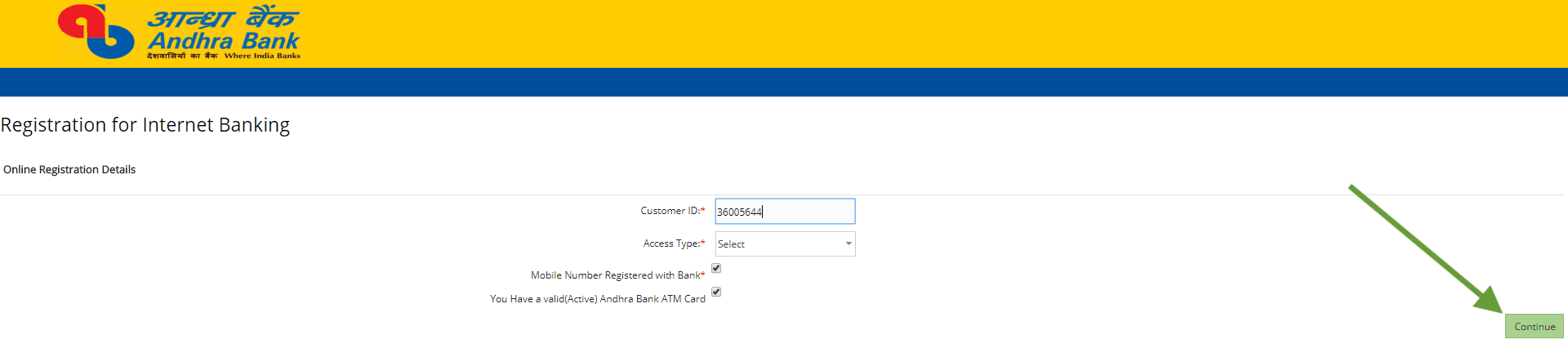 online registration details Andhra bank net banking