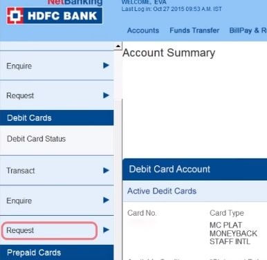 request hdfc debit card
