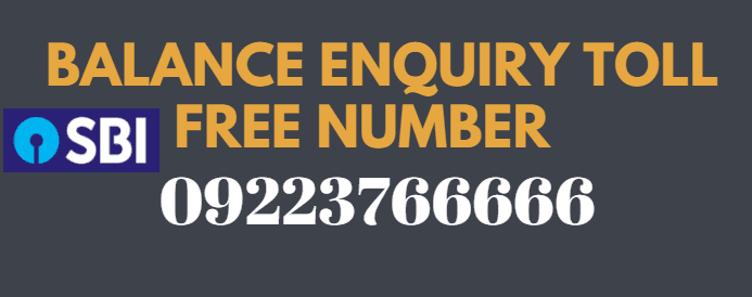 sbi balance enquiry toll free number