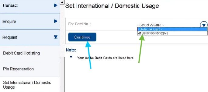 set international usage in hdfc debit card