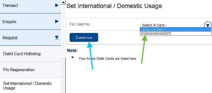 set international usage in hdfc debit card
