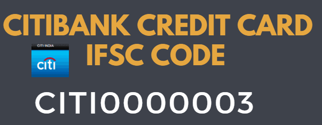 citibank credit card ifsc code