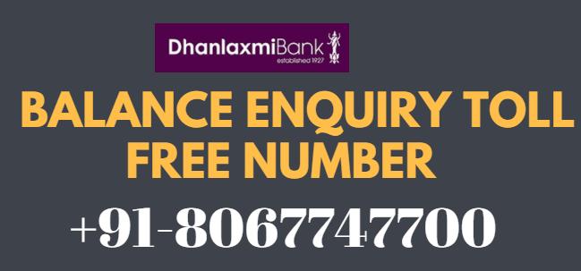 Dhanalakshmi bank missed call balance Enquiry number