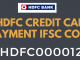 hdfc credit card payment ifsc code