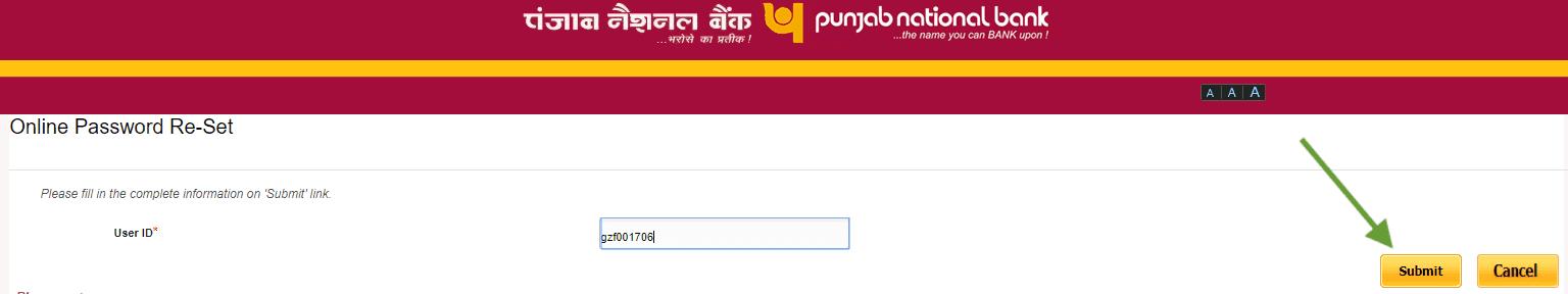 user id pnb net banking