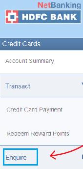 enquire under credit card hdfc