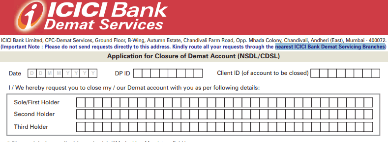 icici demat account closure form sample