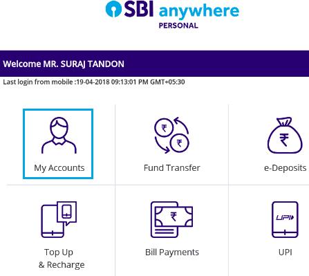 my accounts sbi anywhere app