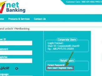 new user register Vijaya bank net banking