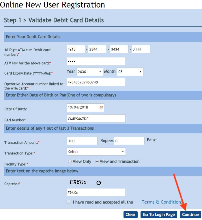 online new user registration vijaya net banking