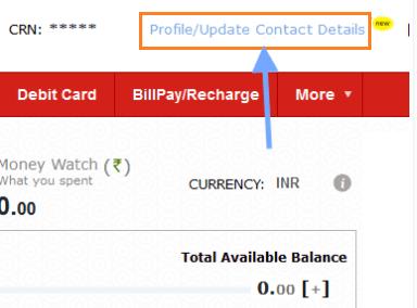 profile contact details update kotak bank net banking