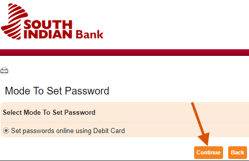 Set south indian bank net banking password using debit card