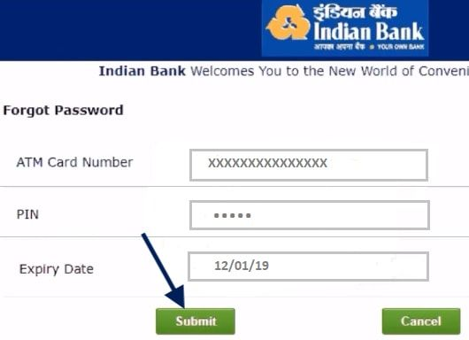submit atm details Indian bank