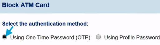 block sbi atm card using otp