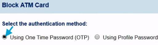 block sbi atm card using otp