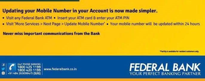 change mobile number federal bank - Federal Bank Nri Application Form Download
