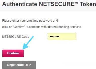 confirm netsecure code axis bank