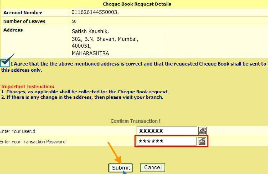 confirm cheque book request bank of India