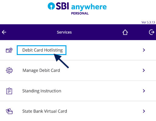 debit card hotlisting sbi anywhere personal app