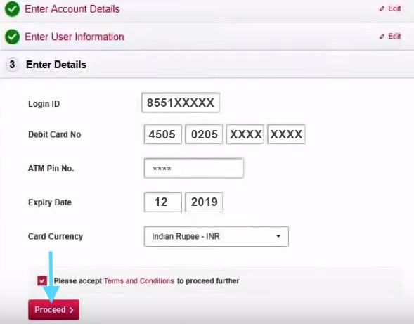 enter debit card details axis bank