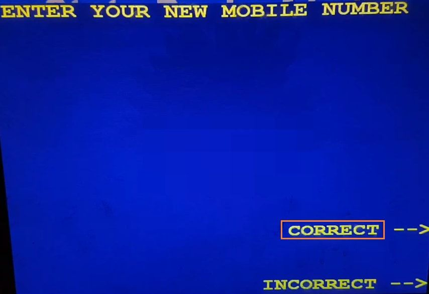 enter new mobile number in SBI ATM