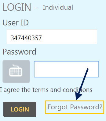 forgot login password Indian net banking