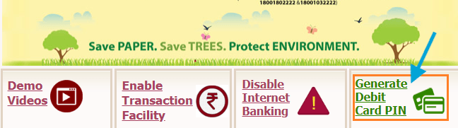 generate PNB debit card pin online without net banking