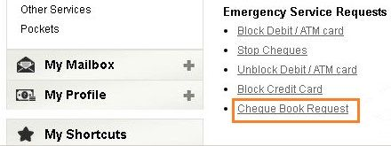 icici cheque book request online