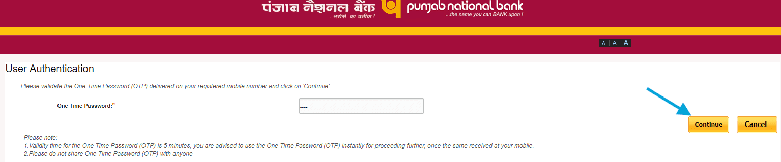 otp user authentication pnb online