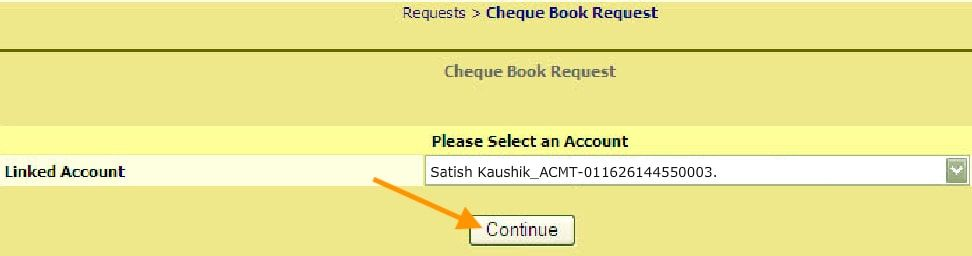 select linked account for cheque book request bank of India