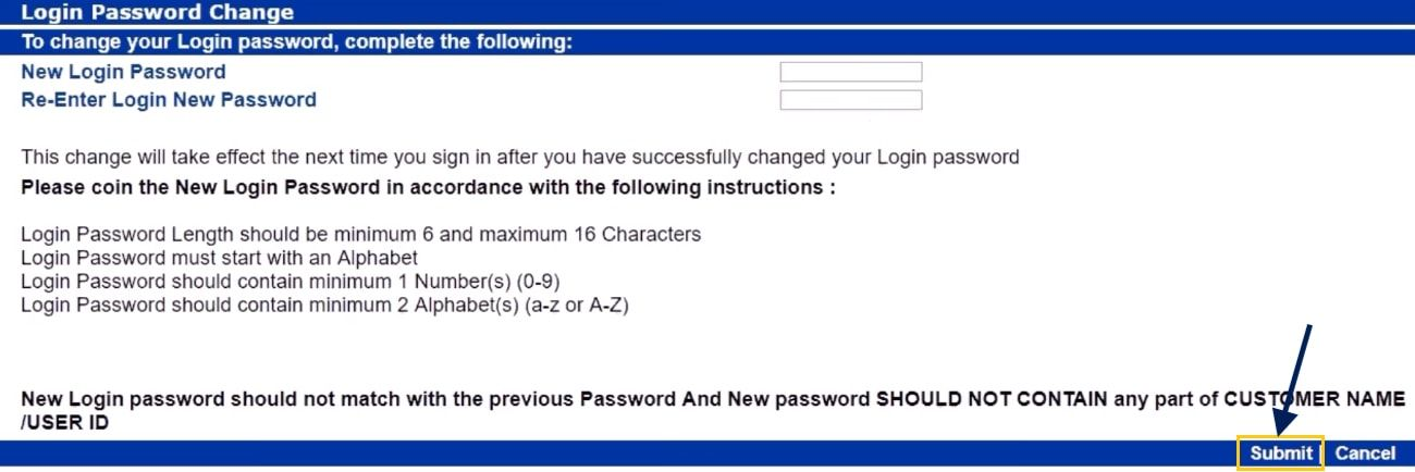 set new login password Indian bank net banking