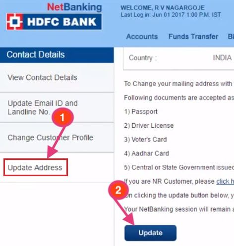 update address in hdfc bank online