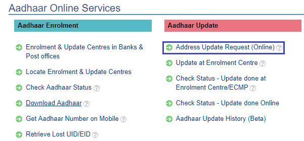 address update request in aadhaar online