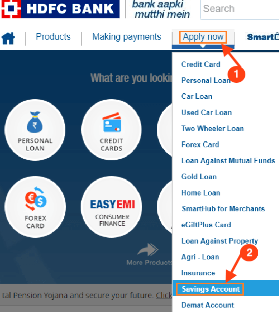 Apply for Saving account in HDFC bank online