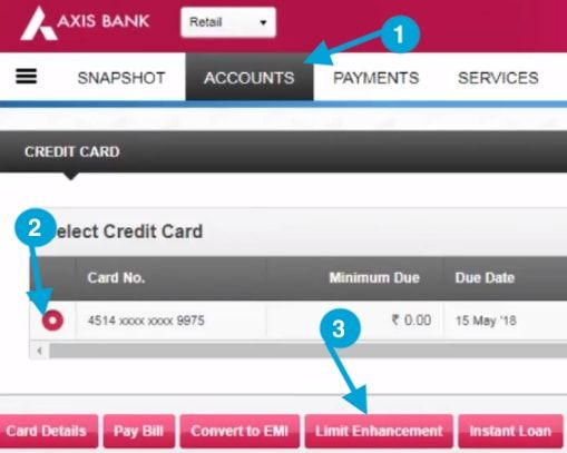 axis bank credit card limit enhancement online