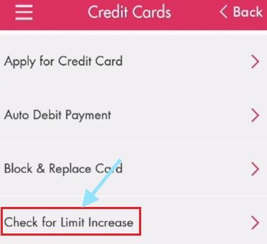 check for crdit card limit increase in axis mobile app