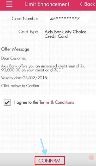 confirm crdit card limit increase in axis mobile app