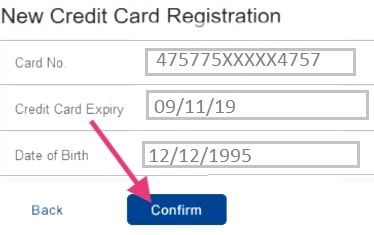 confirm new credit card registration hdfc net banking