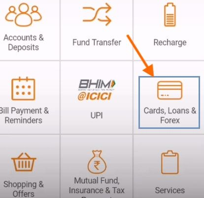 credit cards icici imobile app