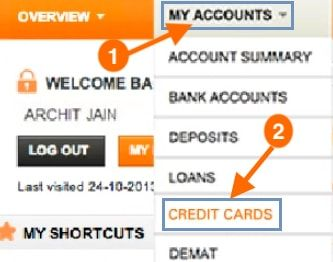 credit cards icici net banking