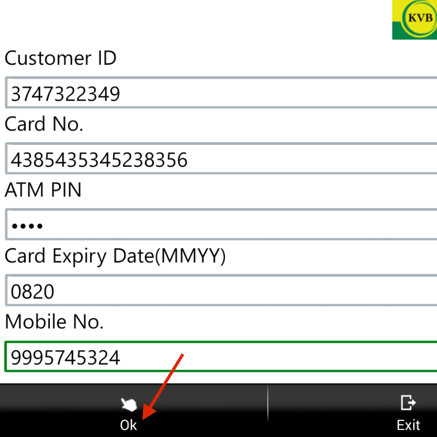 debit card details kvb mobile banking