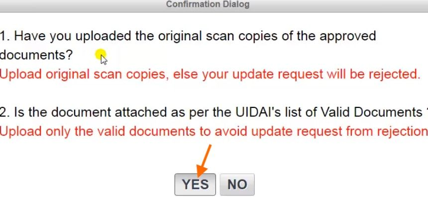 documents confirmation in aadhar card online