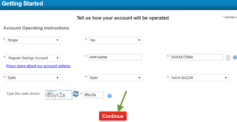 Enter details to open hdfc saving account online