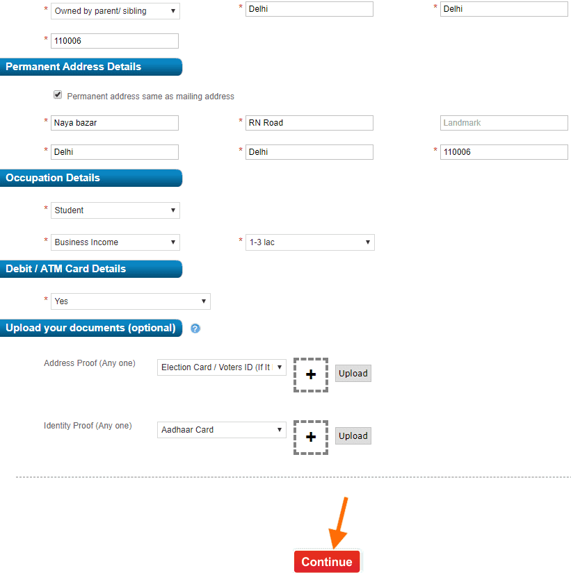 Fill HDFC account opening form